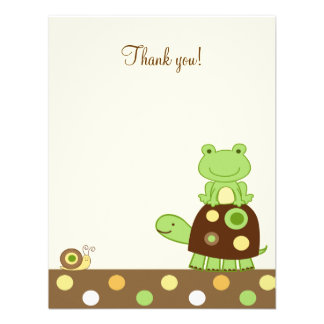 Note plate de Merci de grenouille et de tortue 4x5 Faire-parts