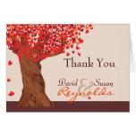 Note romantique de Merci de chêne d'amour d'automn Carte De Vœux