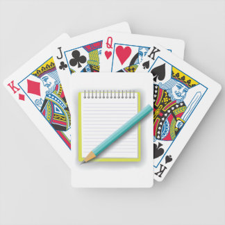 notebook and pencil bicycle playing cards