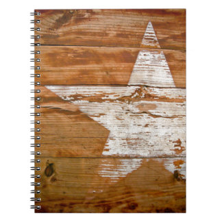 Notebook Distressed Wood Grain Faded White Star