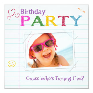 Notebook Doodle Birthday Party Invitations