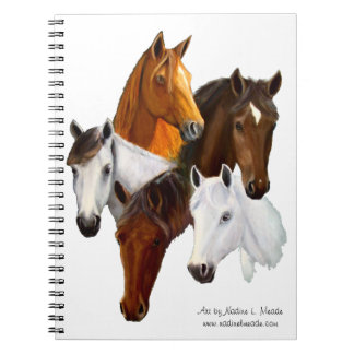 Notebook, Five horse heads, cutout background Note Books