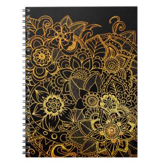 Notebook Floral Doodle Gold G523