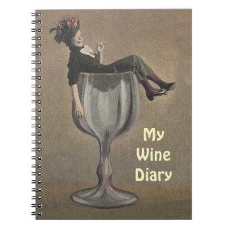 Notebook Journal Wine Recipe Book Antique Fun