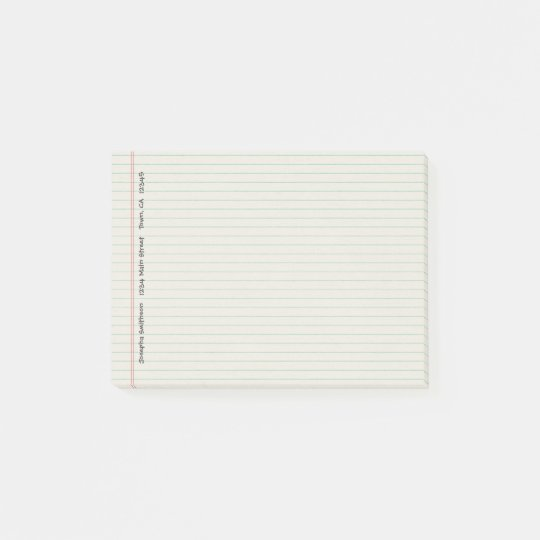 Notebook lined blue red post-it notes