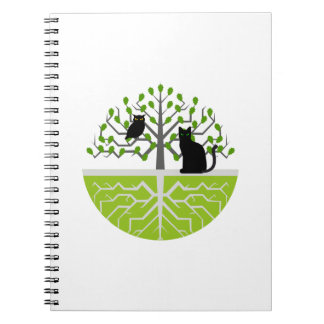 Notebook oak cat owl