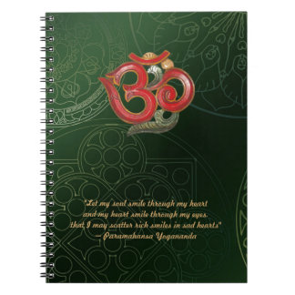 Notebook OM green Mandala with red OM Yogananda