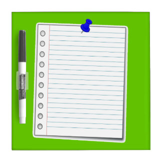 Notebook page dry erase board