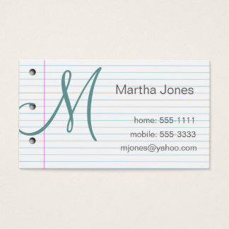 Notebook paper business cards (#BUS 027)
