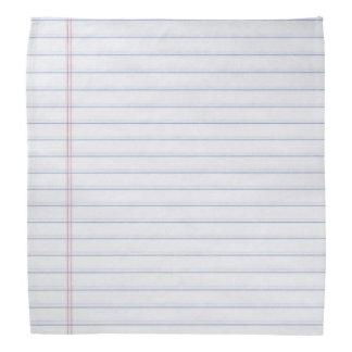 Notebook Paper Hankerchief Bandana