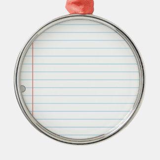 Notebook Paper Metal Ornament