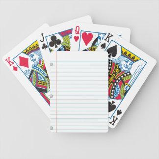 Notebook Paper Poker Deck