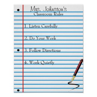 Notebook Paper School Classroom Rules Poster
