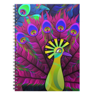 Notebook:  Peacock with color burst Spiral Notebook