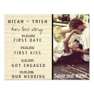 "Notebook Photo Our Love Story Save the Dates 4.25"" X 5.5"" Invitation Card"