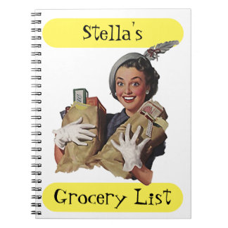 Notebook Retro Grocery List Happy Lady Gift Idea