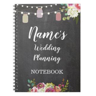 Notebook Rustic Wedding Planning Jars Notes Chalk