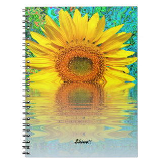 Notebook:  Sunflower with color burst Spiral Notebook