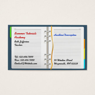 Notebook/Tutoring Business Card