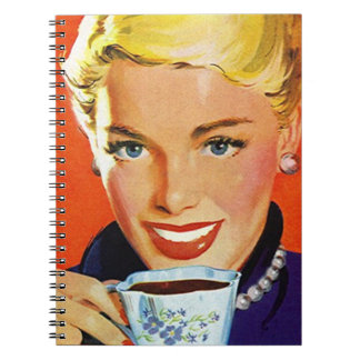 Notebook Vintage Day Planner Organized Coffee Lady