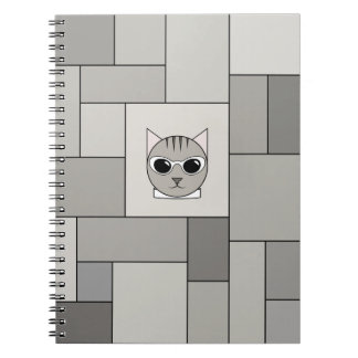 Notebook with Gray Tabby and Pavingstone Pattern