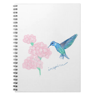 """Notebook with """"Inspire"""" quote with hummingbird"""