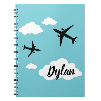 Notebook with photo Planes with First name