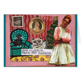 NOTECARD-BAH HUMBUG. PASS THE EGGNOG. CARD