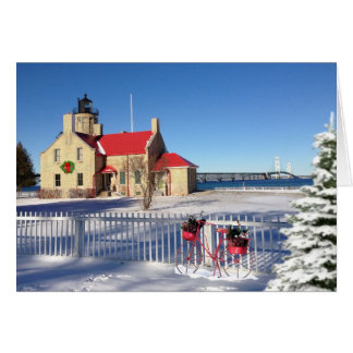 Notecard Christmas Old Mackinac Point Lighthouse