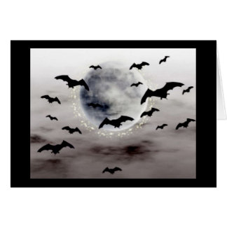 Notecard showing full moon and bats.