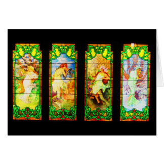 Notecard-Vintage Stained Glass Art-Mucha 4 Seasons Card