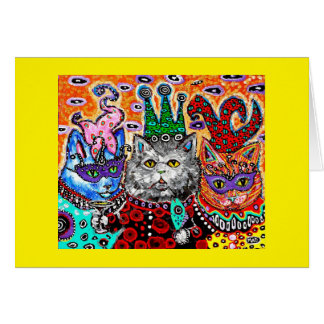 Notecard with cats at Mardi Gras