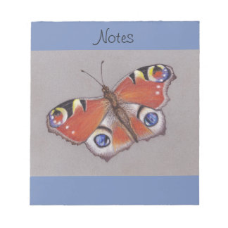 Notepad with Peacock Butterfly Design