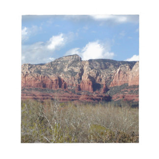 notepad with photo of Arizona red rocks