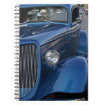 Notepad with Vintage Blue Car Cover Note Book