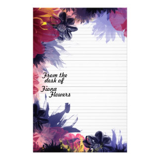 Notepaper Stationery Lined, Dark Colorful Flowers