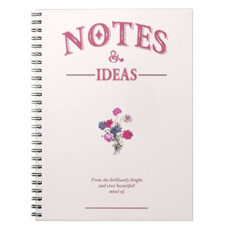 Notes and Ideas journal, Creme, vintage, floral Spiral Note Book