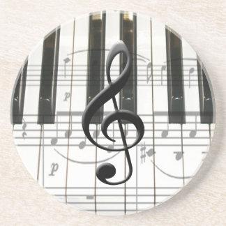 Notes de clavier et de musique de piano dessous de verre