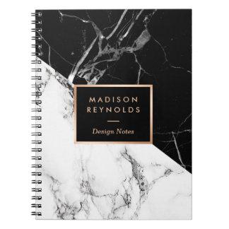 Notes de marbre blanches noires élégantes de carnets