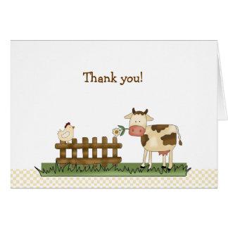 Notes de Merci pliées par ferme douce à la maison Carte De Correspondance