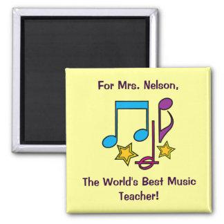 Notes et étoiles personnalisables de professeur de magnet carré