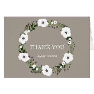 Notes florales de Merci de guirlande - taupe Carte De Correspondance