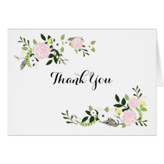 Notes florales de Merci de jardin - blanc Carte De Correspondance