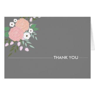 Notes florales élégantes de Merci - gris Carte De Correspondance