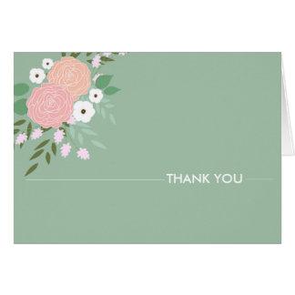 Notes florales élégantes de Merci - menthe Carte De Correspondance