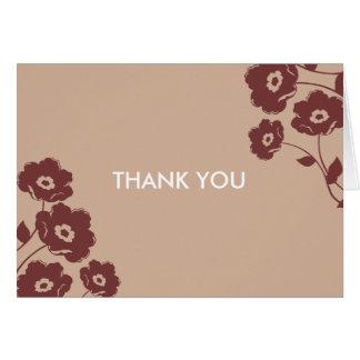 Notes florales modernes de Merci Carte De Correspondance