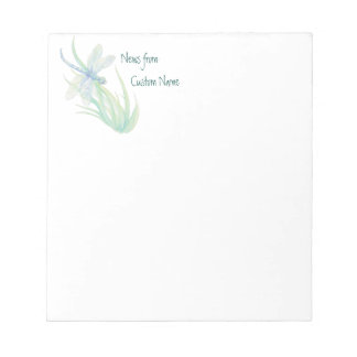 Notes From Watercolor Blue Green Dragonfly Art
