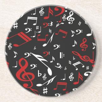 Notes musicales blanches et noires rouges dessous de verres