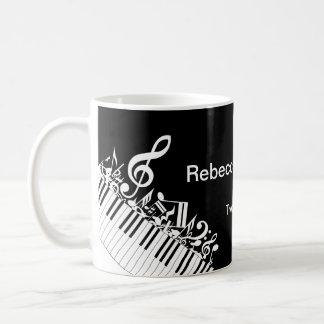 Notes musicales et clés brouillées personnalisées mug blanc