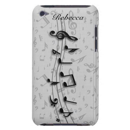 Notes musicales noires et grises personnalisées étui barely there iPod